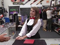 This card dealer is a hot babe who pawns her pussy in a pawn shop