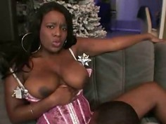 Nivea  Juggilicious Ebony Riding A Big Black Cock