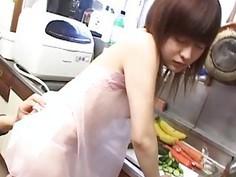 CMNF unfaithful Japanese wife kitchen foreplay