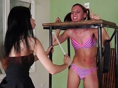 Brazilian bdsm and lesbian whipping of tied teen