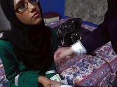 Arab babe in glasses sucks that big hard cock