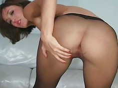 Frisky chick exposes booty upskirt and vagina lips
