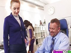 Gigi Flamez and Katalina Mills getting pounded in office