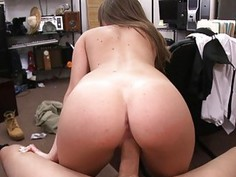 Tight woman pounded by nasty pawn keeper