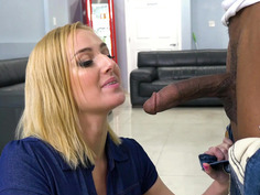 Kate England smoking e-cigarette and sucking big black cock
