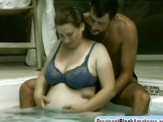 A very horny man fuck his nasty pregnant brunette wife in a backyard