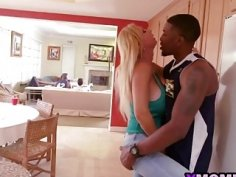 Big fake tits mommy smooching younger big black dick at her kitchen