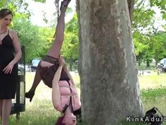 Slave hanged on a tree and flogged