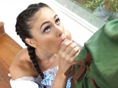 Amazing brunette babe in cosplay outfit has wild fuck fest
