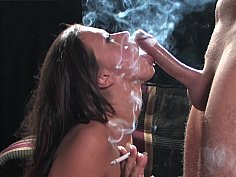 Brunette smokes and blows