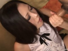 Lovely Asian chick in uniform provides a stiff man meat with a solid blow