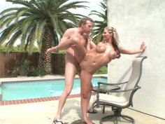 Flexible bitch  Phoenix Marie throws her legs over head for pounding