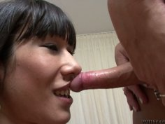 Blonde tranny Martina B gets blowjob and bangs brunette cutie