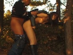 Skinny brunette whore Arisa Minami gets pounde in the woods