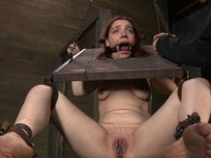 Filthy redhead pale skin chick Maggie Mead gets her ass caned
