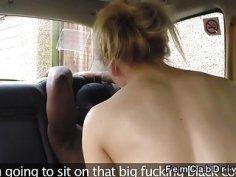 Huge tits cab driver rides big black cock