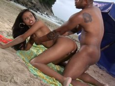 Fantastic black chick Marcella Moraes gets fucked in the asshole and sprayed with cum