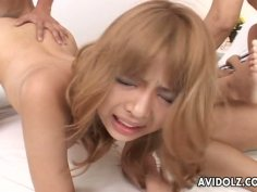 Moe Yazawa and Nana Arita in crazy group sex scene