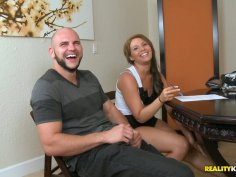 Horny and dirty-minded Nadia sucks a cock for cum on the table