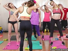 Lesbians licking and fingering after fitness lesson