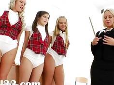 Three butt schoolgirls and their teacher