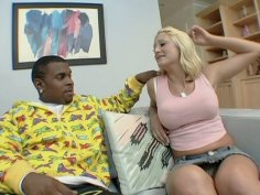 Short haired blondie Staci Thorn chooses a black dude for sucking his cock