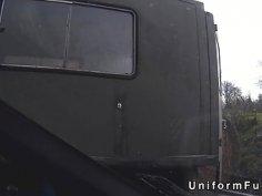 Redhead bangs fake cop in abandoned trailer