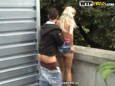 Whorish blonde girlfriend is fucked in public