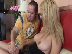 Nice blonde girl Cody gets her tight pussy hard slammed in doggy