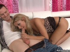 Golden haired hottie Natalie Vegas gives head to Ryan Blaze
