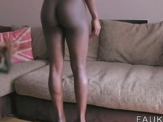 Busty ebony Brit interracial sex casting