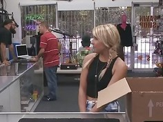 Pretty blonde pounded by pawn keeper for her vets bills