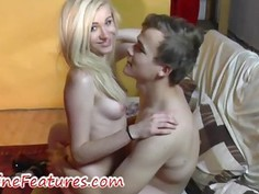 Backstage blowjob and cumshot on tits