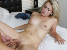 Charming blonde babe madly blowing and fucking big hard cock