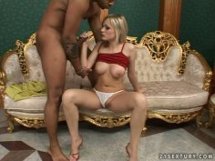 Pale blond head Bianca Golden loves pleasing a black hot tool