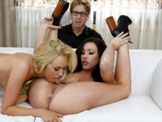 Cuckold husband watches his wife's lesbian action