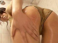 Spoiled Japanese milf Gekisha Premium takes a shower in sultry bikini