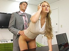 Long haired Abby bent over her desk and fucked
