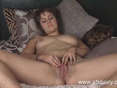 Onyx fucks her hairy pussy with TWO toys!