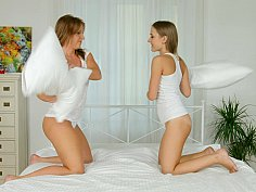 Pillow fight leads to pussy eating