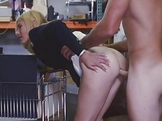 Blonde chick with a huge hard pole in her pussy