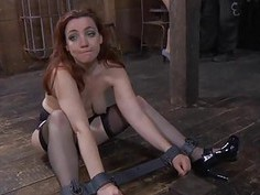 Clamped up sweetheart is receiving facial agony