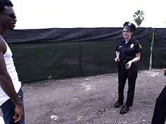 Two big ass female police officers get interracial fucked