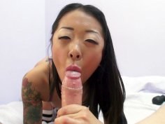 Asian Saya Song is sucking the big cock in POV