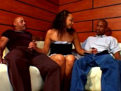 Phat ebony hoe Tinker Belle gets double teamed by couple of gangstas
