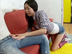 Shameless Asian cutie Yiki gives nice passionate blowjob