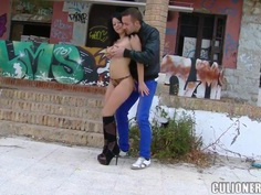 Klaudia Hot fucks fervently on the back of urban background