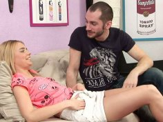 Titless blondie Chloey gets cunnilingus and sucks a cock as a repay