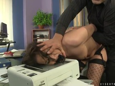 Andy Brown gets penetrated and humiliated in her office