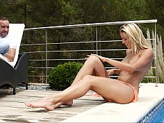 Slutty summer hoe seduces relaxed man outdoor